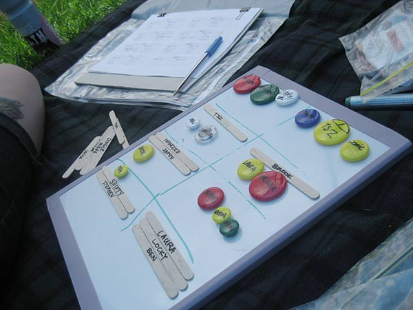 Score sheets and game draw magnets