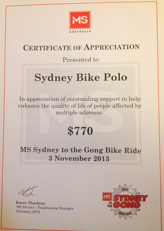 Certificate from MS for Sydney Bike Polo